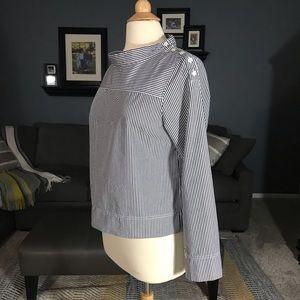 J. Crew Funnel-Neck Striped Shirt